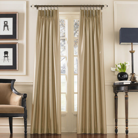 Marquee Faux Silk Pinch-Pleat/ Back-Tab Panel- Sand