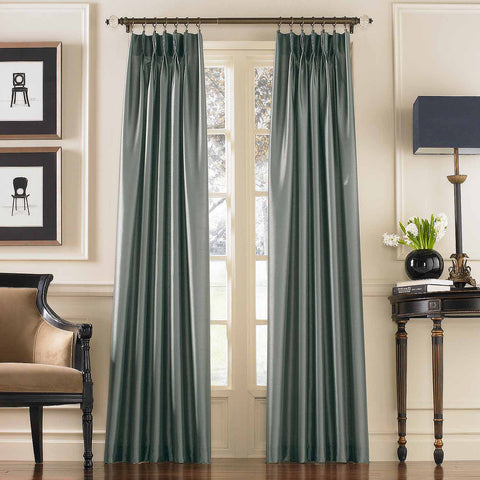 Marquee Faux Silk Pinch-Pleat/ Back-Tab Panel- Teal