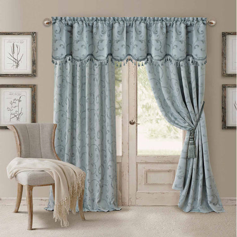 Mia Jacquard Room-Darkening Back-Tab Panel- Blue