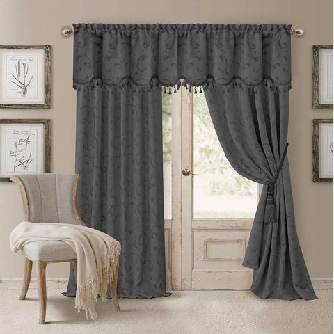 Mia Jacquard Room-Darkening Back-Tab Panel- Grey