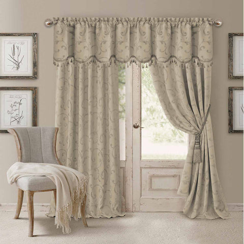 Mia Jacquard Room-Darkening Back-Tab Panel- Natural