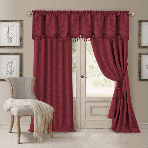 Mia Jacquard Room-Darkening Back-Tab Panel- Rouge