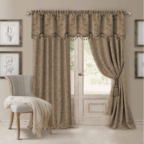 Mia Jacquard Room-Darkening Back-Tab Panel- Taupe