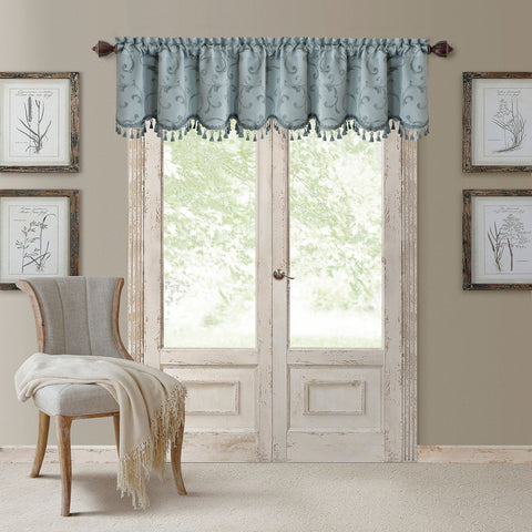 Mia Jacquard Rod-Pocket Scalloped Valance- Blue