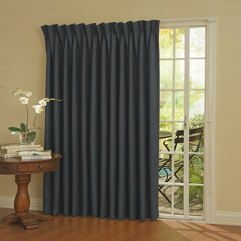 Paxton Room-Darkening Back-Tab/Pinch-Pleat Patio Panel- Storm Blue