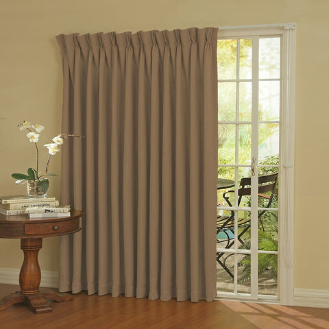 Paxton Room-Darkening Back-Tab/Pinch-Pleat Patio Panel- Wheat