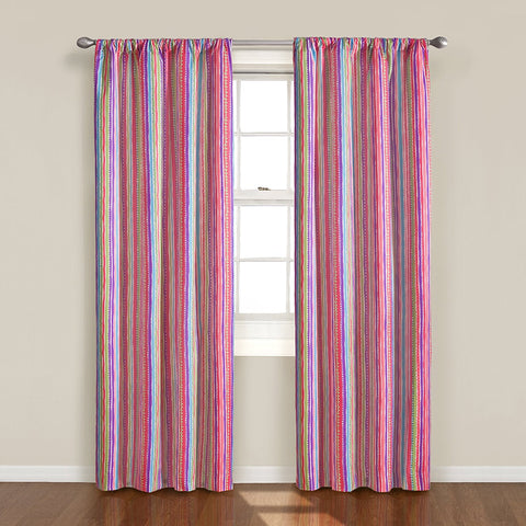 Playtime Striped Room-Darkening Rod-Pocket Panel- Pink