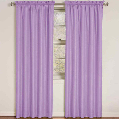 Quinn Wave Room-Darkening Rod-Pocket Panel- Purple