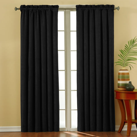 Suede Room-Darkening Rod-Pocket Panel- Black