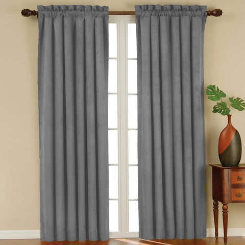 Suede Room-Darkening Rod-Pocket Panel- Charcoal