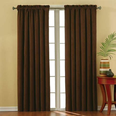 Suede Room-Darkening Rod-Pocket Panel- Chocolate