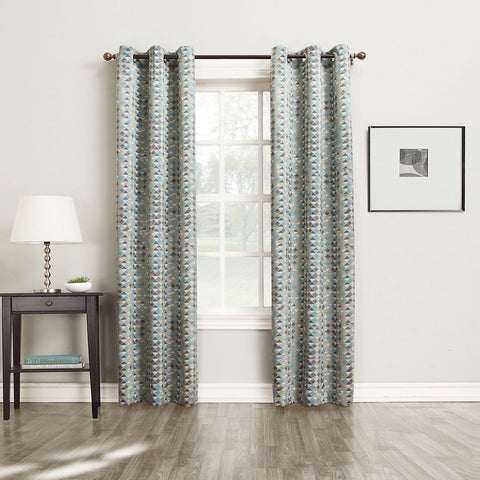 Allen Diamond Grommet-Top Curtain Panel- Gray