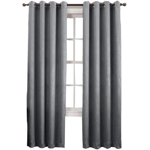 Asher Grommet-Top Curtain Panel- Gray
