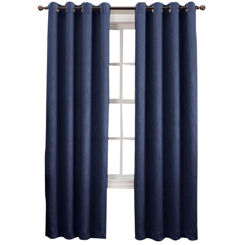 Asher Grommet-Top Curtain Panel- Indigo