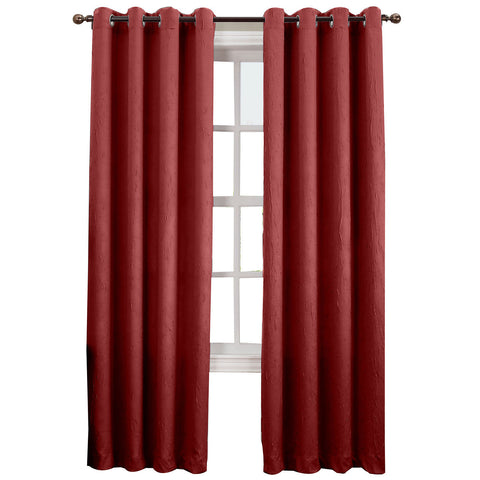 Asher Grommet-Top Curtain Panel- Paprika