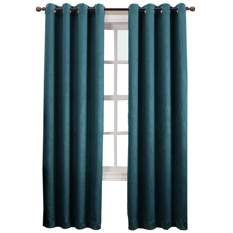 Asher Grommet-Top Curtain Panel- Teal
