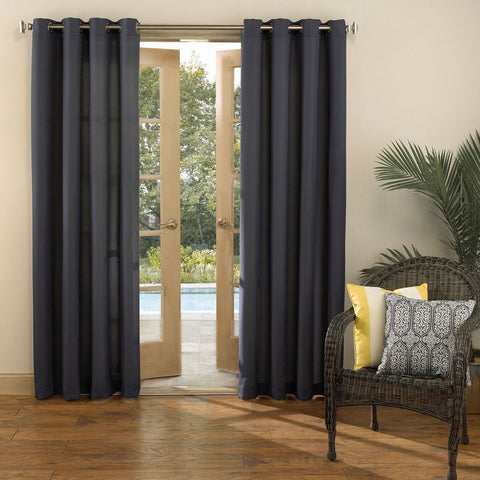 Batai Indoor/Outdoor Grommet-Top Curtain Panel- Indigo