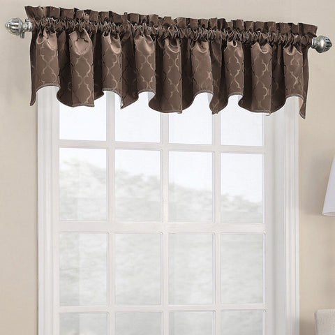 Dion Rod-Pocket Shaped Valance- Chocolate