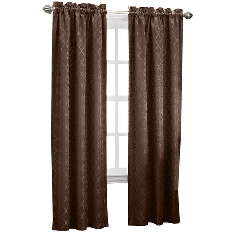 Dion Rod-Pocket Room-Darkening Curtain Panel- Chocolate