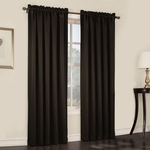 Emory 2-Pack Room-Darkening Rod-Pocket Curtain Panels- Hidalgo Brown
