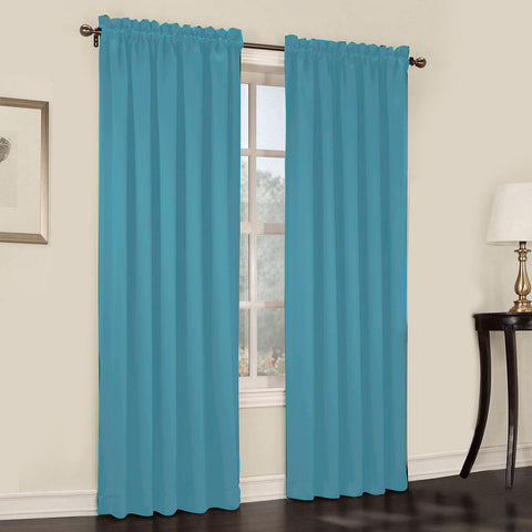 Emory 2-Pack Room-Darkening Rod-Pocket Curtain Panels- Marine