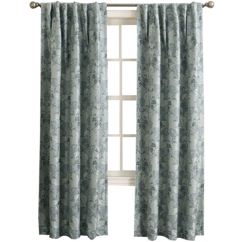 Mayfair Room-Darkening Rod-Pocket/Back-Tab Curtain Panel- Aqua