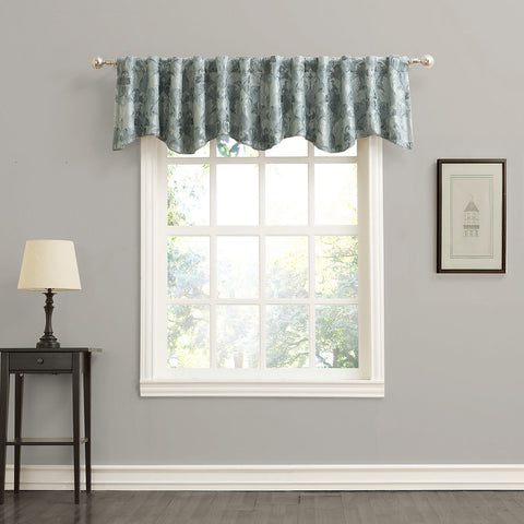 Mayfair Rod-Pocket/Back-Tab Shaped Valance- Aqua