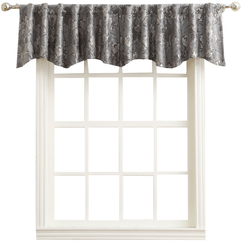 Mayfair Rod-Pocket/Back-Tab Shaped Valance- Gray