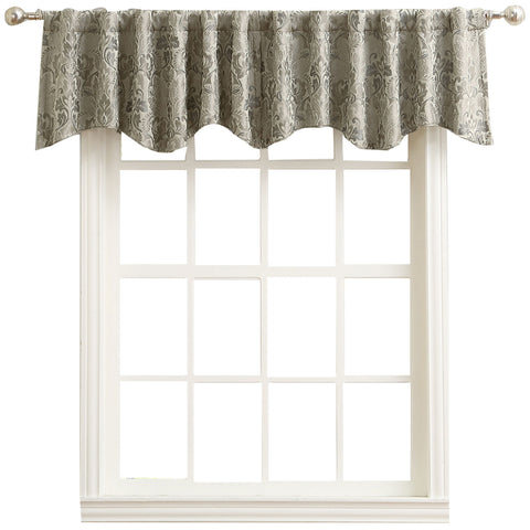 Mayfair Rod-Pocket/Back-Tab Shaped Valance- Mushroom