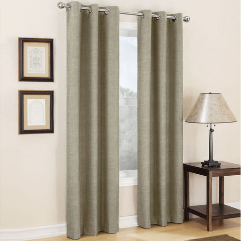 Mirage Grommet-Top Room-Darkening Curtain Panel- Linen
