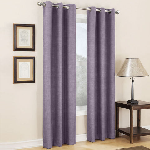 Mirage Grommet-Top Room-Darkening Curtain Panel- Plum