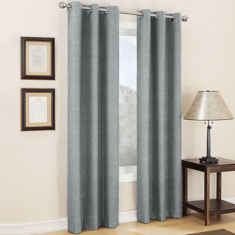 Mirage Grommet-Top Room-Darkening Curtain Panel- Silver
