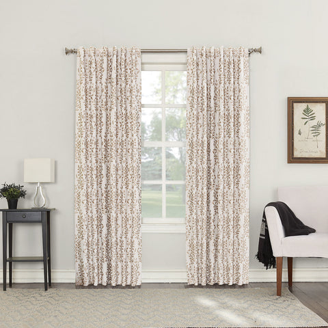 Rona Back-Tab Blackout Curtain Panel- Linen
