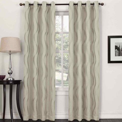 Stratton Grommet-Top Room-Darkening Curtain Panel- Ecru