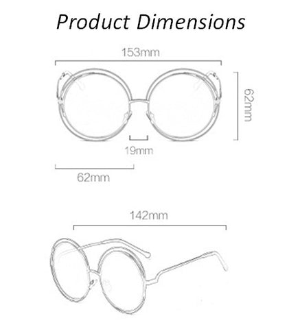 Oversized Round Retro Sunglasses Dimensions