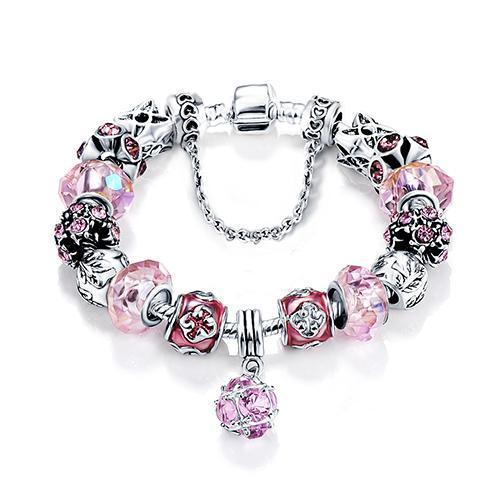 Antique Silver & Glass Charm Bracelet - Owlizh