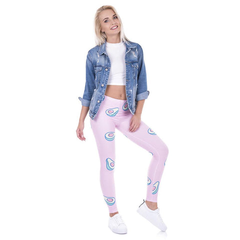 Avocado Pink Quick Dry Workout Leggings-Leggings-Owlizh-Owlizh