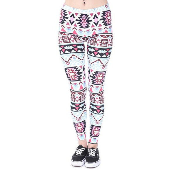 Aztec Print Leggings-Leggings-Owlizh-Owlizh