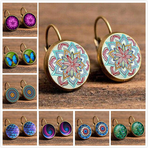 Bohemian Deco Earrings-Earring-Owlizh-Pink Splash-Owlizh