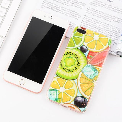 Cartoon Fruit iPhone Case (For iPhone 6, 6s, 6 Plus, 6s Plus 7, 7 Plus, 8, 8 Plus, X)-Phone Case-Owlizh-Cartoon Fruit-iPhone 7 Plus-Owlizh