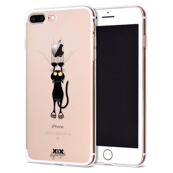 Comical Falling Cat Apple iPhone Case (For iPhone 6 to X) - Owlizh