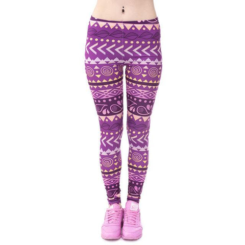 Deep Pink Aztec Print Leggings-Leggings-Owlizh-Owlizh