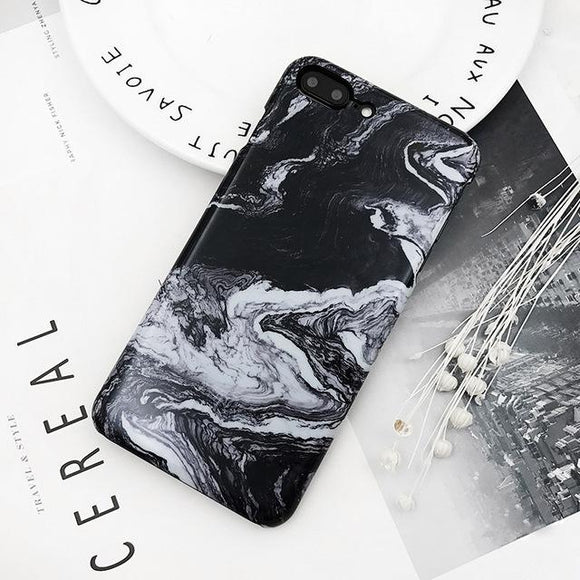 Fitted Black Marble Swirl iPhone Case (For Apple iPhone 7 and 7 Plus)-Phone Case-Owlizh-Black-iPhone 7 Plus-Owlizh