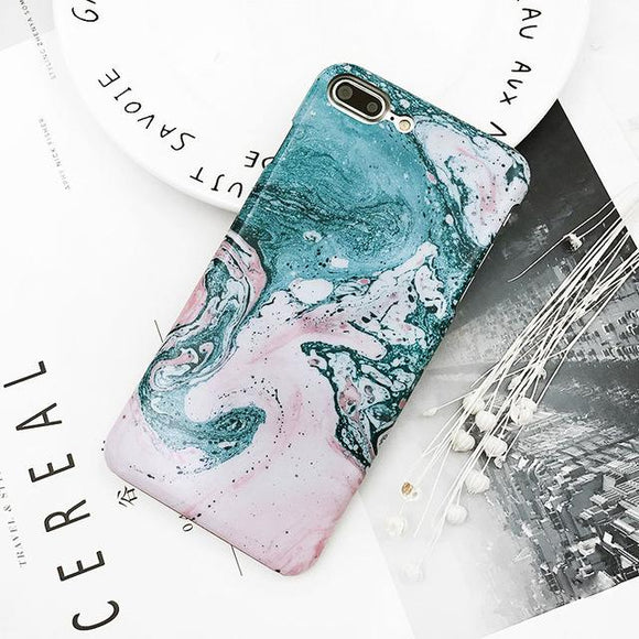 Fitted Blue & Pink Marble Swirl iPhone Case (For Apple iPhone 7 and 7 Plus)-Phone Case-Owlizh-Blue & Pink-iPhone 7 Plus-Owlizh
