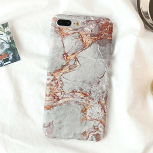Fitted Brown Granite Stone iPhone Case (For iPhone 6 to X) - Owlizh