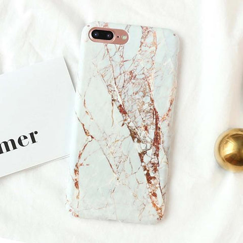 Fitted Granite Stone Marble iPhone Case (For Apple iPhone 7, 7 Plus, 8 & 8 Plus)-Phone Case-Owlizh-White Granite-iPhone 7 Plus-Owlizh