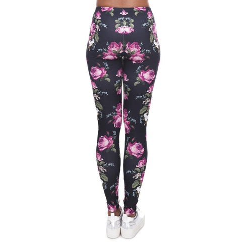 Flower Quick Dry Workout Leggings-Leggings-Owlizh-Owlizh
