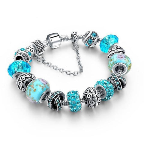 Glass & Crystal Friendship Charm Bracelet Color Series-Friendship Bracelet-Owlizh-Blue Ocean Glass-Owlizh