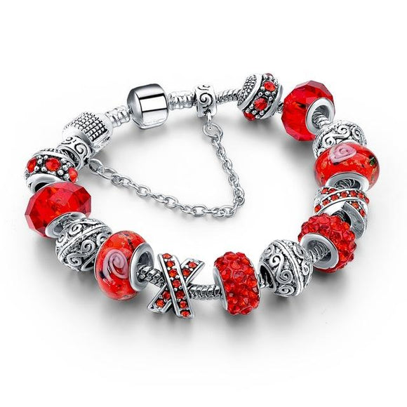 Glass & Crystal Friendship Charm Bracelet Color Series-Friendship Bracelet-Owlizh-Red Glass-Owlizh