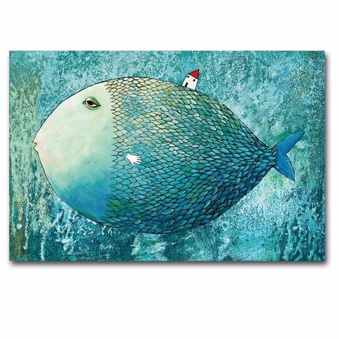 House On A Fish-Canvas Painting-Owlizh-40cm X 50cm-Owlizh